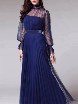 Ericdress Long Sleeve Floor-Length Patchwork All-Season Pullover Dress