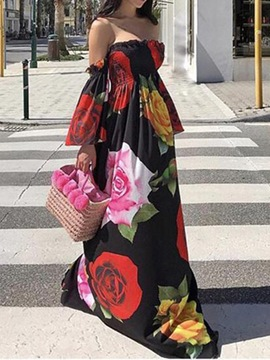 Ericdress Off Shoulder Long Sleeve Print Floral Summer Dress