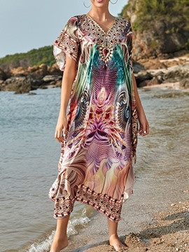 Ericdress Color Block Mid-Calf Beach Look Dress Beach Dresses