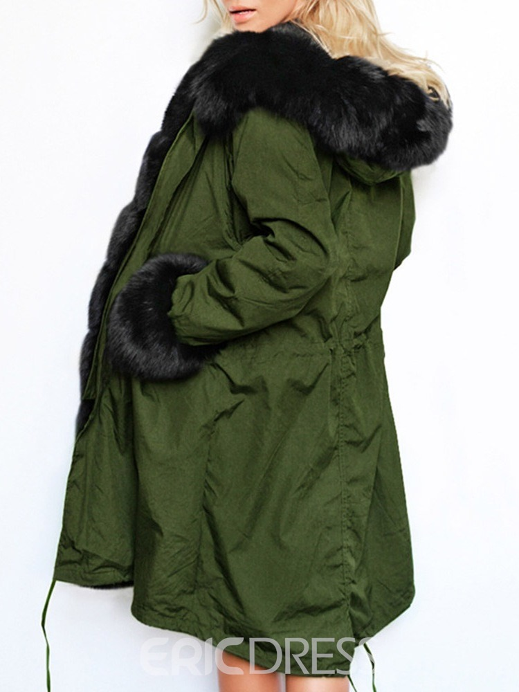 Ericdress Patchwork Loose Mid-Length Cotton Padded Jacket