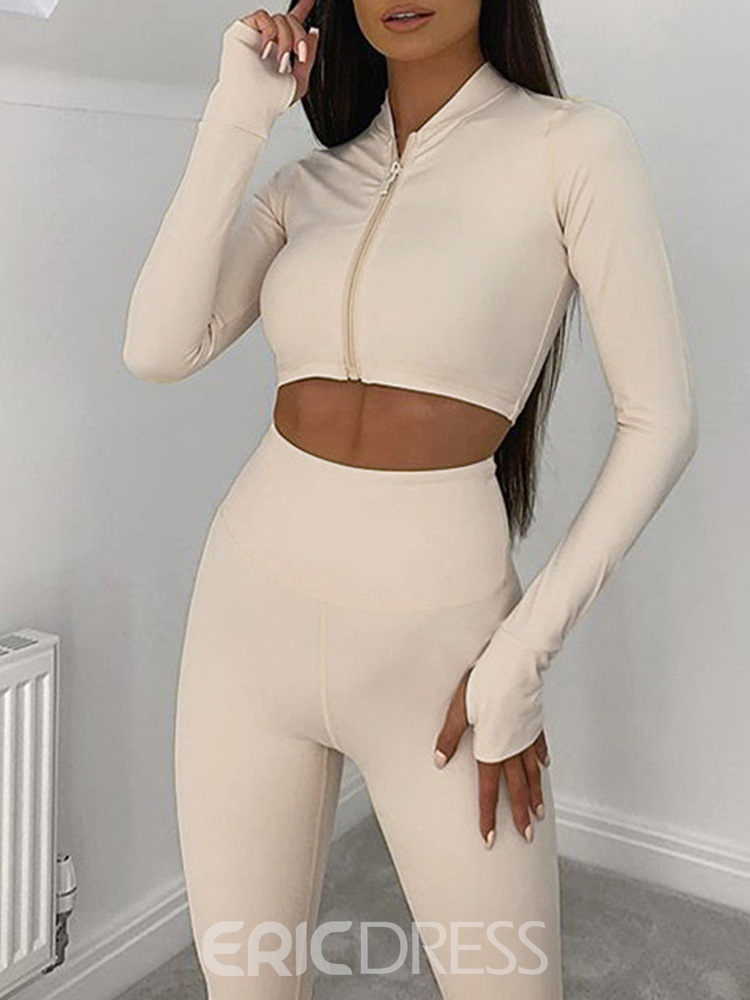 Ericdress Anti-Sweat Polyester Solid Zipper Long Sleeve Clothing Sets