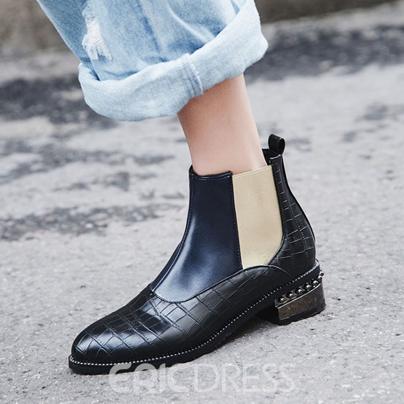Ericdress Side Zipper Color Block Round Toe Cotton Boots