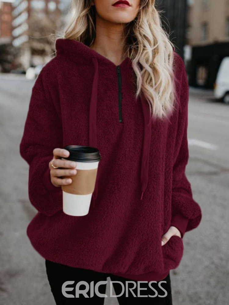 Ericdress Regular Plain Long Sleeve Mid-Length Hoodie