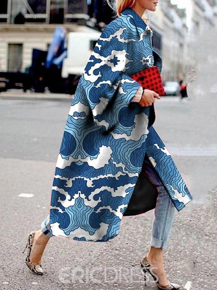 Ericdress Loose Print Long Winter Overcoat