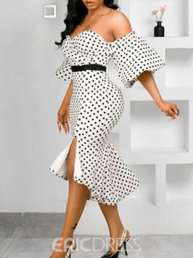 Ericdress Off Shoulder Three-Quarter Sleeve Mid-Calf Party/Cocktail Mermaid Dress