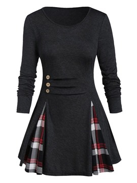 Ericdress Long Sleeve Plaid Round Neck Slim Western T-Shirt