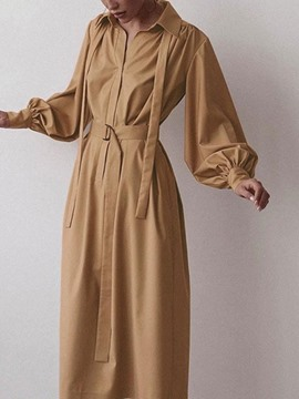 Ericdress Long Sleeve Mid-Calf Belt Lantern Sleeve Pullover Dress