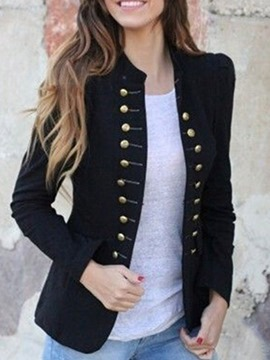 ericdress blazer casual regular de invierno con doble botonadura y manga larga
