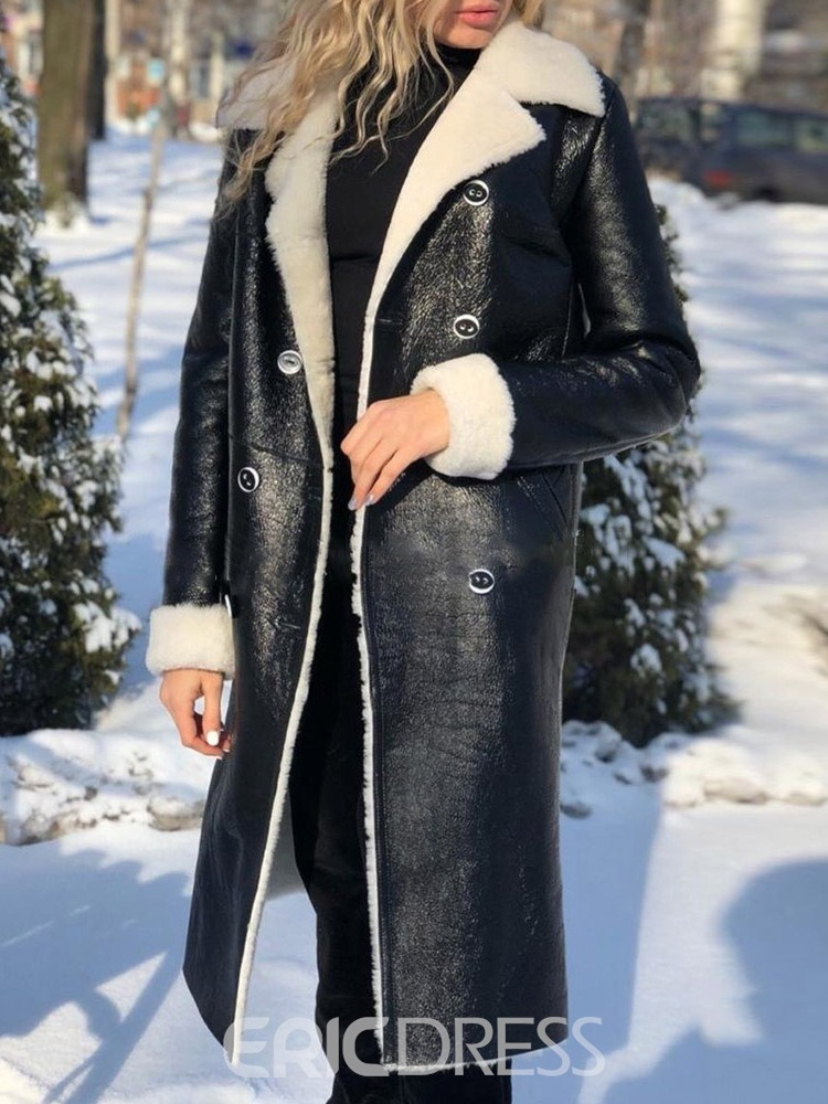 Ericdress Slim Patchwork Double-Breasted Winter Notched Lapel Overcoat