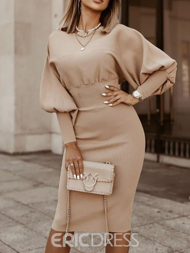 Ericdress Mid-Calf Round Neck Long Sleeve Fall Bodycon Dress