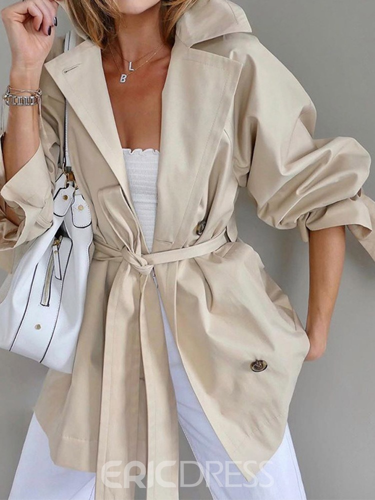 Ericdress Lapel Belt Single-Breasted Western Long Sleeve Trench Coat