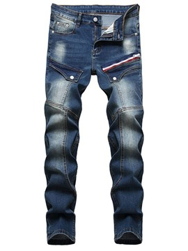 Ericdress Straight Zipper Men's Mid Waist Jeans
