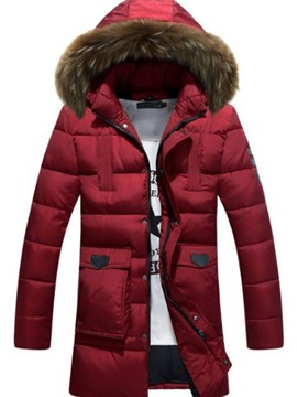 Ericdress Pocket Mid-Length Hooded European Zipper Men's Down Jacket
