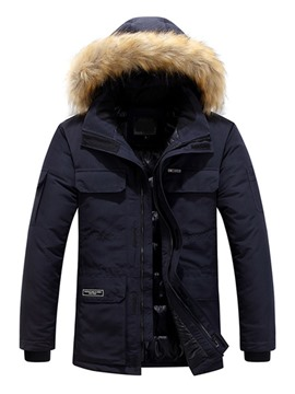 Ericdress Hooded Letter Standard Zipper Men's Down Jacket