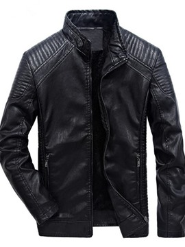 Ericdress Plain Standard Stand Collar Fall Straight Leather Men's Jacket