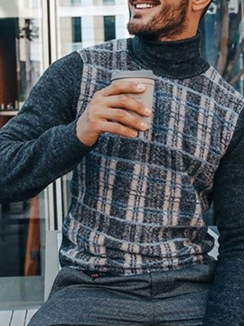 Ericdress Standard Patchwork Plaid Men's Slim Sweater