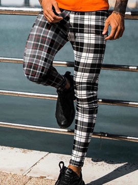Ericdress Plaid Asymmetric Pencil Pants Korean Men's Casual Pants