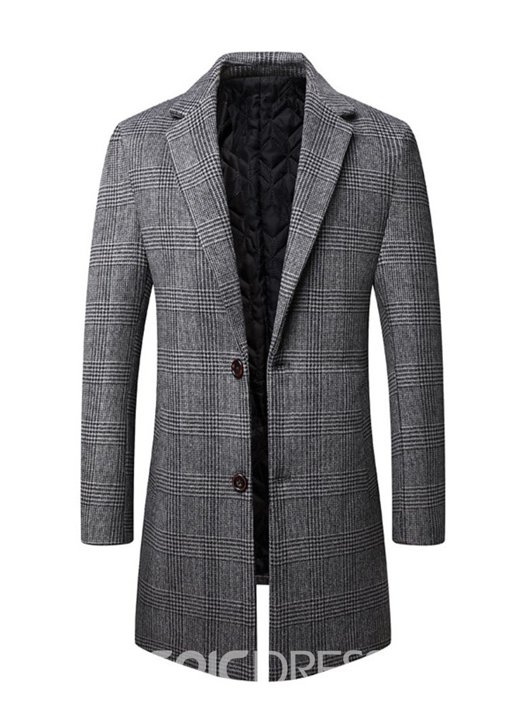 Ericdress Plaid Mid-Length Notched Lapel Single-Breasted Men's Coat