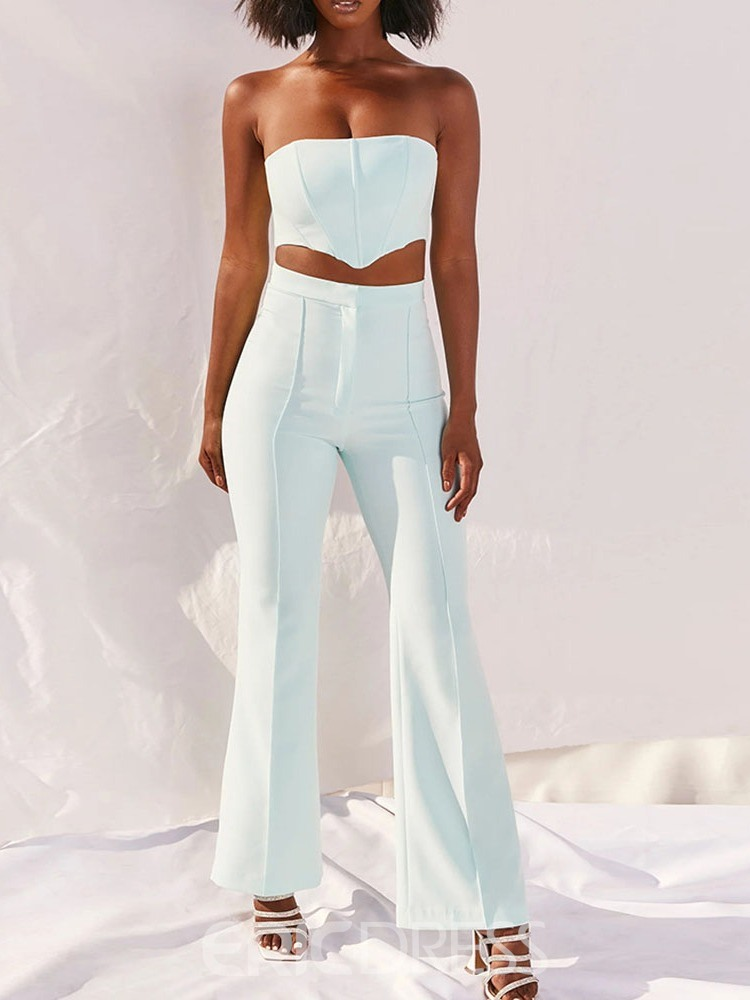 Ericdress Plain Sexy Pants Bellbottoms Two Piece Sets