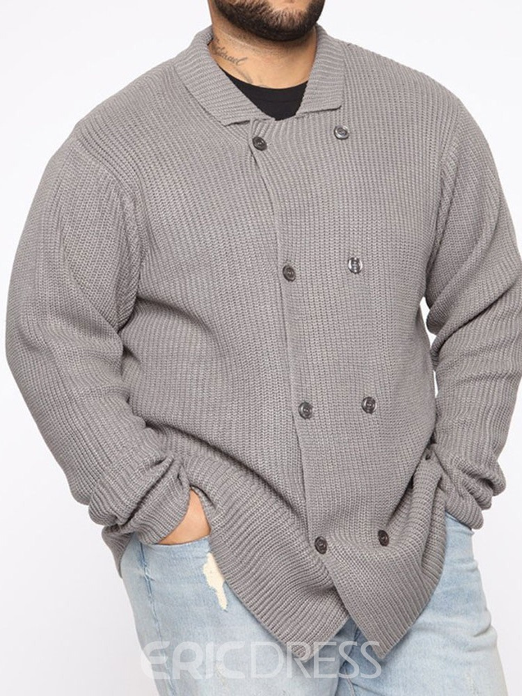 Ericdress Lapel Standard Plain Men's Double-Breasted Sweater