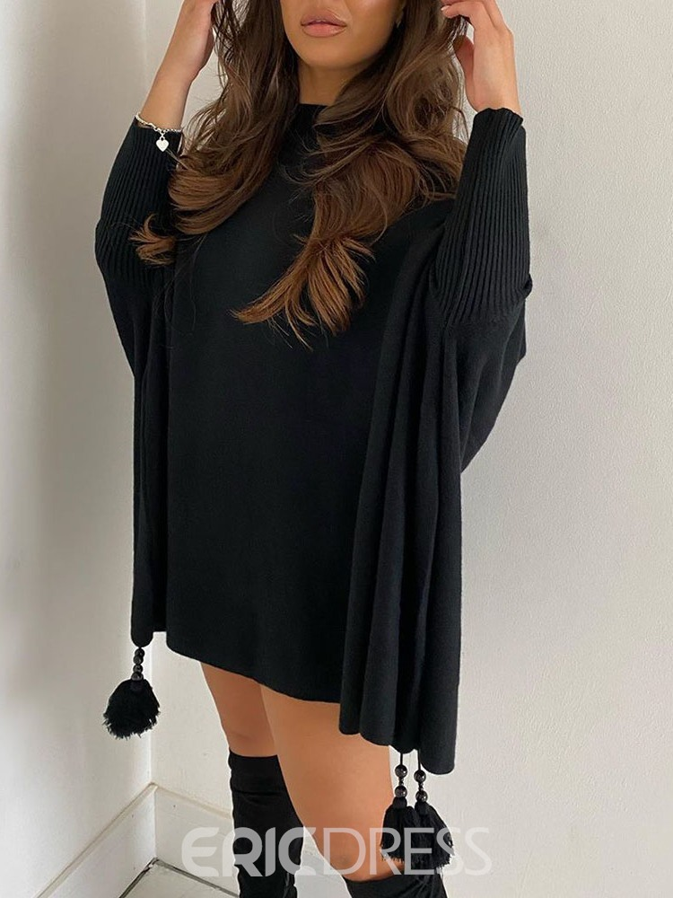 Ericdress Patchwork Batwing Sleeve Winter Loose Sweater