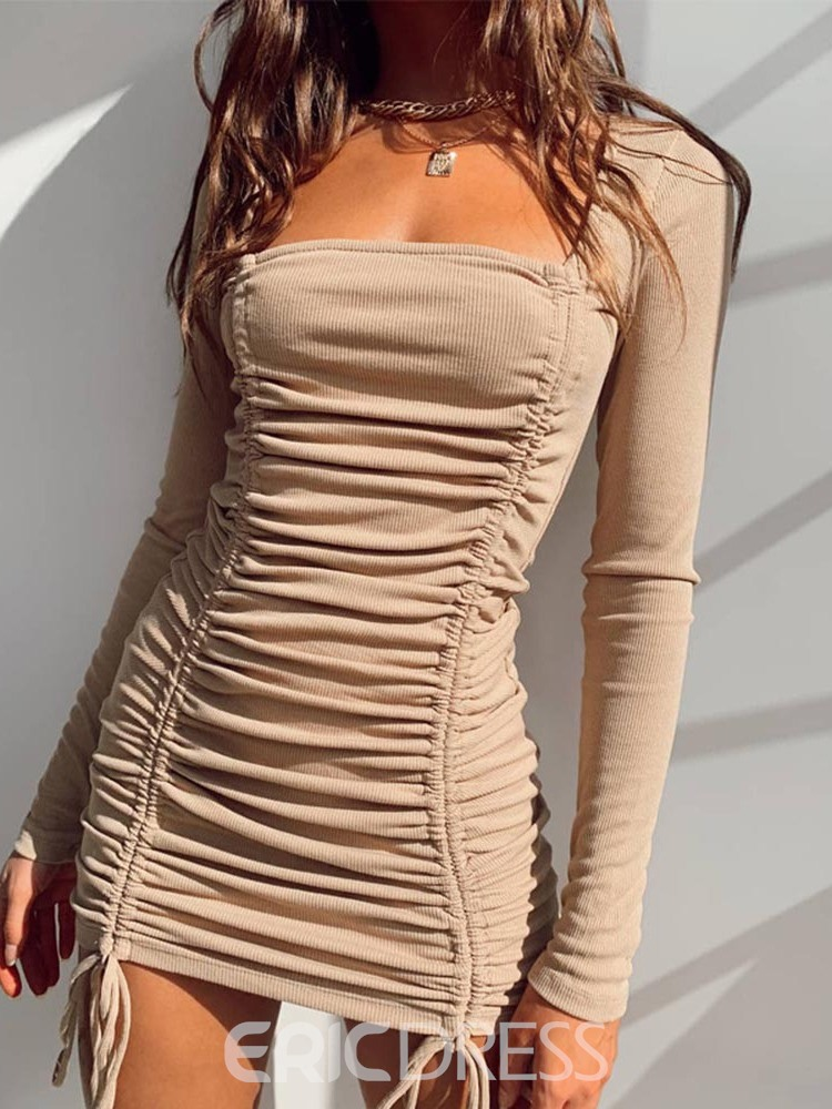 Ericdress Above Knee Square Neck Long Sleeve Spring Mid Waist Dress