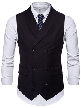Ericdress Button Plain Fall Double-Breasted Men's Waistcoat