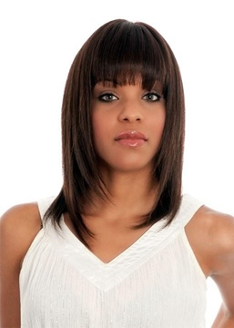 Ericdress Medium Hairstyle Women's Bob Style Straight Human Hair Wigs With Bangs Capless Wigs 16Inch