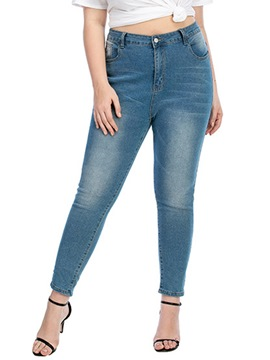 Ericdress Pencil Pants Pocket Color Block Mid Waist Zipper Jeans