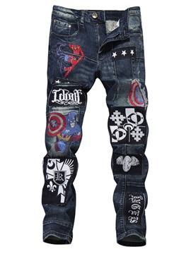 Ericdress Men's Embroidery Straight Letter Zipper Mid Waist Jeans