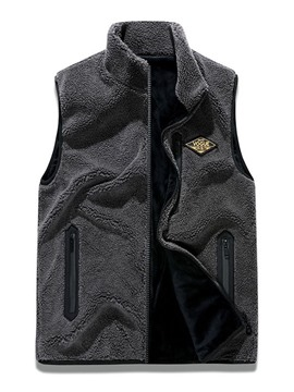 Ericdress Appliques Stand Collar Letter Zipper Fall Men's Waistcoat