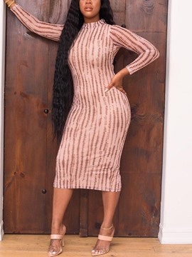 Ericdress Long Sleeve Print Stand Collar Stripe Regular Dress