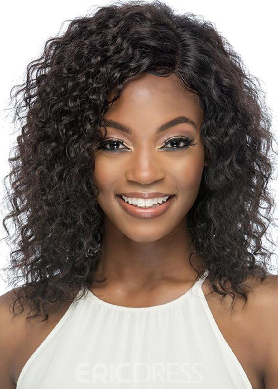 Ericdress Medium Hairstyle Women's Layers Curly Human Hair Lace Front Wigs 16Inch