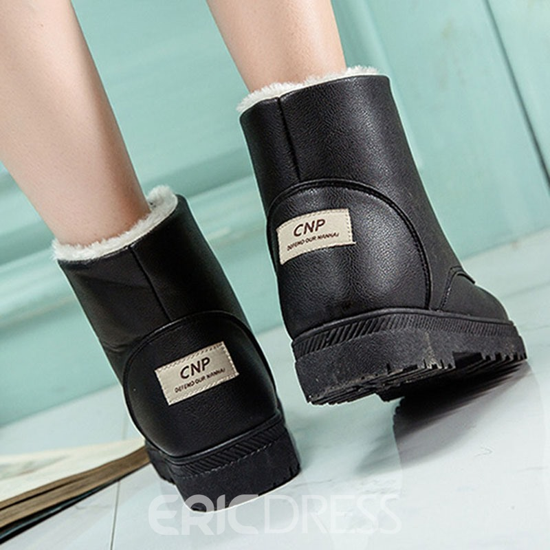 Ericdress Round Toe Plain Lace-Up Front Korean Boots