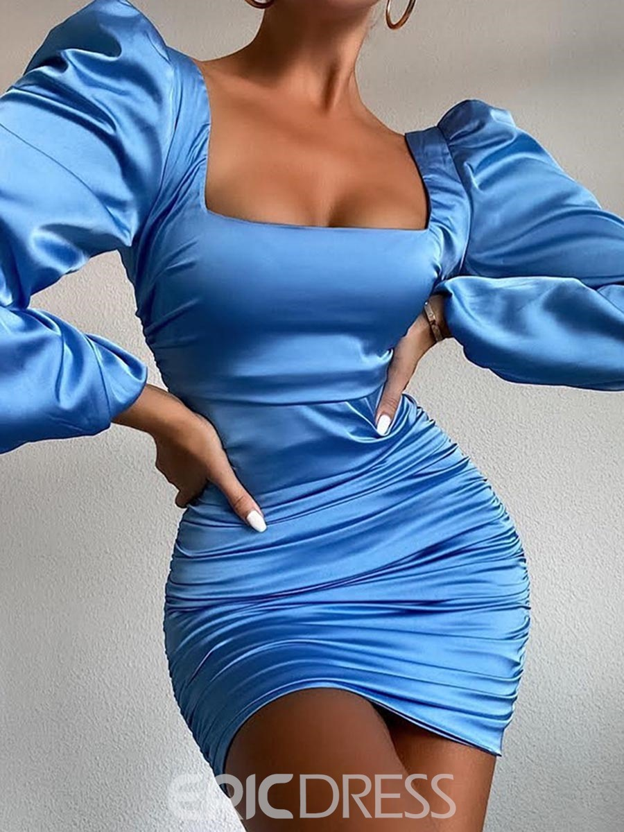 Ericdress Above Knee Long Sleeve Pleated Pullover Bodycon Dress