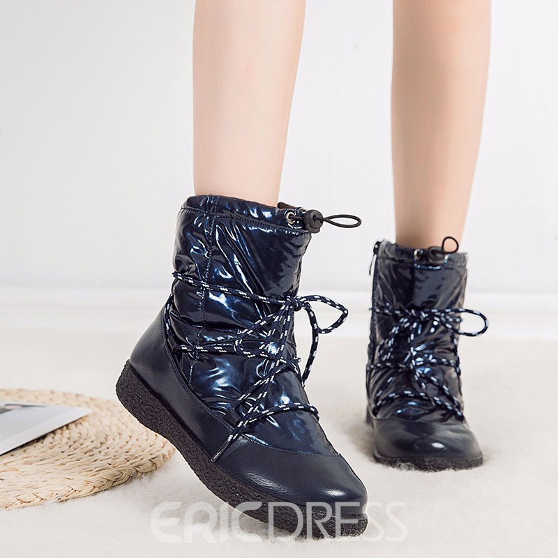 Ericdress Plain Flat With Round Toe Cross Strap Boots