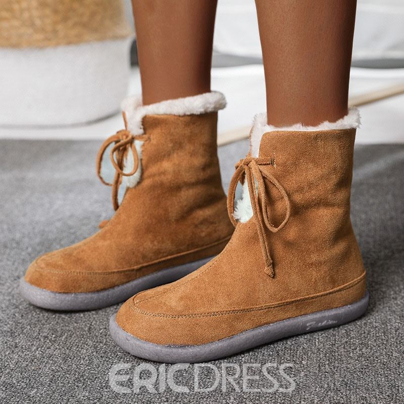 Ericdress Lace-Up Front Flat With Round Toe Thread Boots