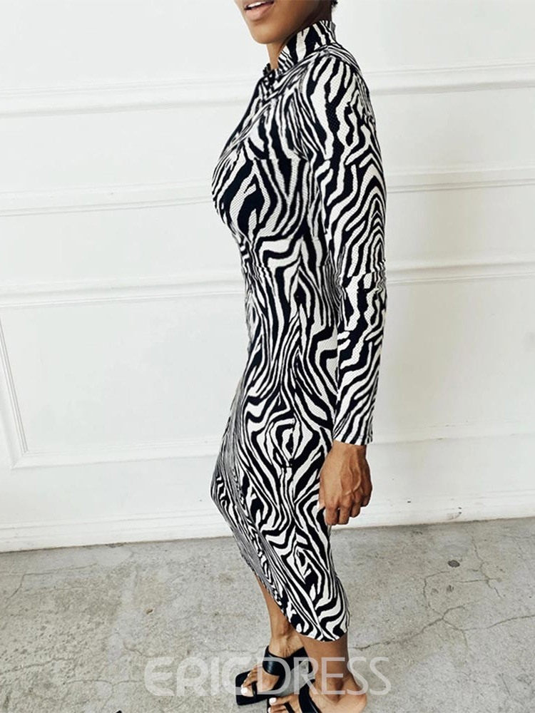 Ericdress Stand Collar Print Long Sleeve Mid Waist Zebra-Stripe Dress