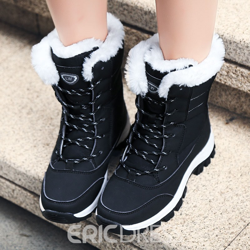 Ericdress Color Block Round Toe Lace-Up Front Plush Boots
