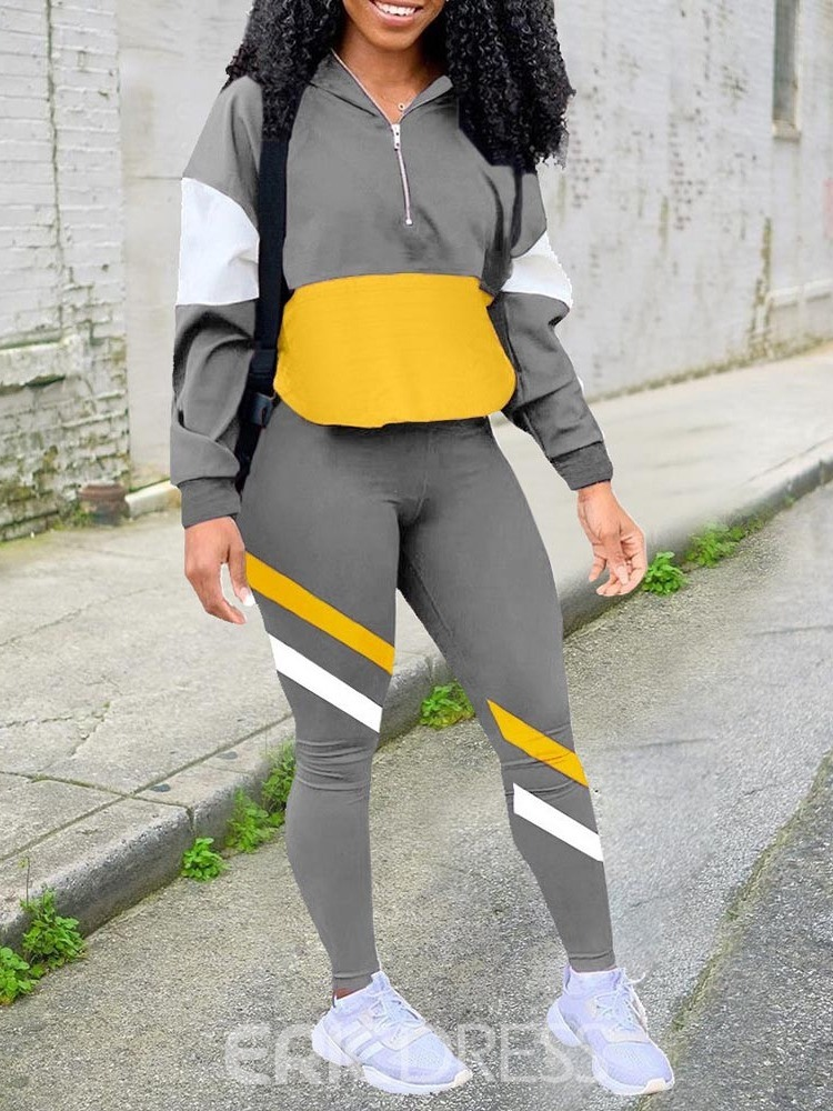 Ericdress Anti-Sweat Patchwork Color Block Nylon Badminton Pullover Clothing Sets