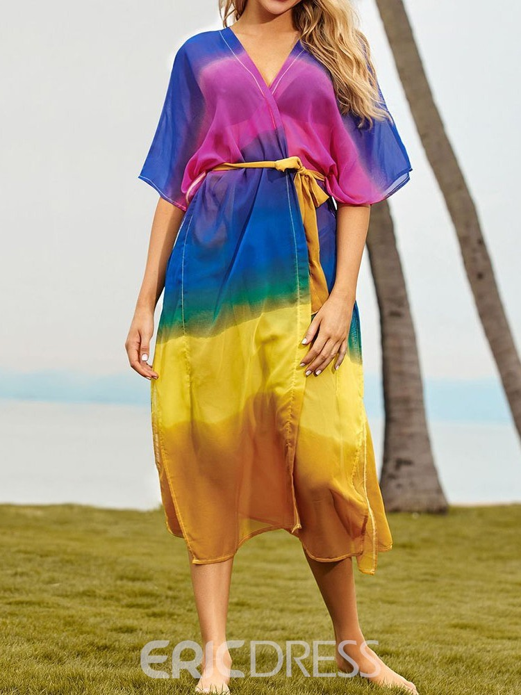 Ericdress Lace-Up Fashion See-Through Beach Tops