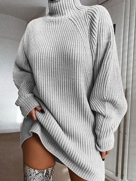 Ericdress Above Knee Turtleneck Long Sleeve Pullover Plain Dress