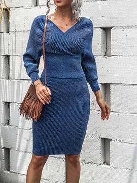Ericdress Plain Sexy Skirt Bodycon Pullover Two Piece Sets