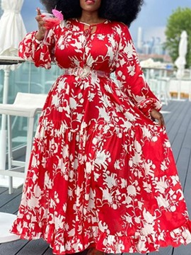 Ericdress Plus Size Long Sleeve Ankle-Length Print Fall Pullover Dress