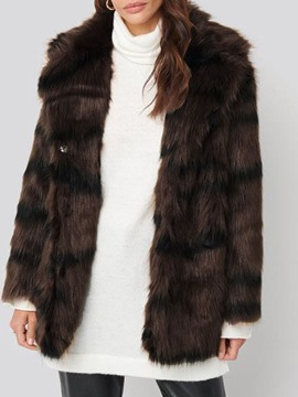 Ericdress Lapel Mid-Length Regular Winter Straight Faux Fur Overcoat