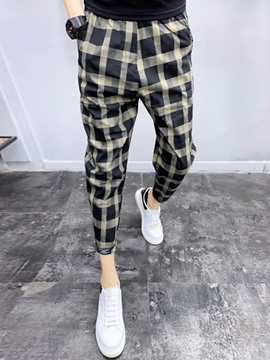 Ericdress Print Baggy Pants Plaid Summer Mid Waist Casual Pants