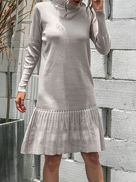 Ericdress Knee-Length Turtleneck Long Sleeve A-Line Date Night/Going Out Dress