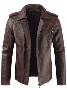 Ericdress Standard Plain Lapel Slim Zipper Leather Jacket