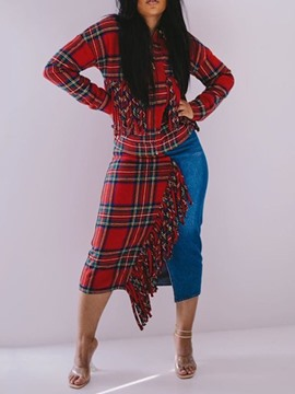 Ericdress Plus Size Mid-Calf Long Sleeve Tassel Bodycon Plaid Dress