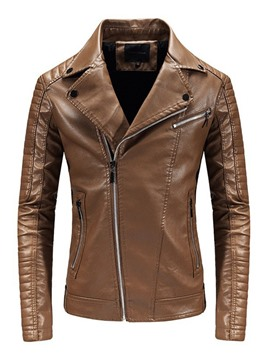 Ericdress Lapel Plain Standard Zipper Fall Leather Jacket